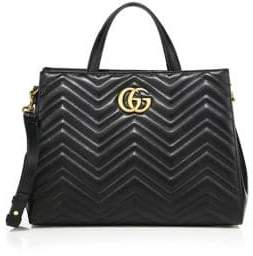 Gucci GG 2.0 Marmont Matelasse Leather Top-Handle Tote - BLACK - STYLE