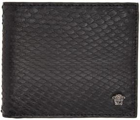 Versace Black Snake-Embossed Bifold Wallet