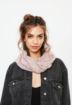 Missguided Grey Faux Fur Snood