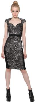 Antonio Berardi Silk Jacquard And Techno Cady Dress