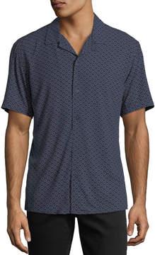 Neiman Marcus Classic-Fit Broken-Circles Short-Sleeve Sport Shirt