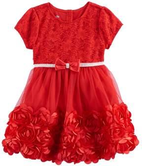Nannette Baby Girl Rosette Floral Lace Dress