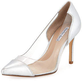 Charles David Genuine Clear Vinyl/Metallic Leather Pump