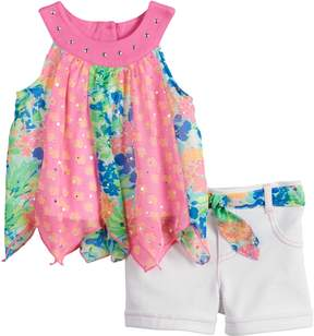 Little Lass Toddler Girl Print Handkerchief-Hem Tank Top & Shorts Set