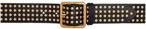 Alexander McQueen Black and Gold Studded Belt