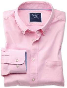 Charles Tyrwhitt Classic Fit Button-Down Washed Oxford Plain Light Pink Cotton Casual Shirt Single Cuff Size Medium