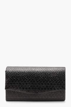 boohoo Structured Faux Snake Clutch With Chain