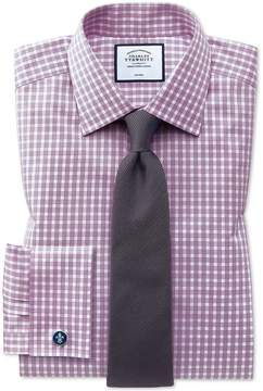 Charles Tyrwhitt Classic Fit Non-Iron Twill Gingham Berry Cotton Dress Shirt Single Cuff Size 15/33