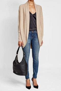 MICHAEL Michael Kors Leather Hobo Bag - BLACK - STYLE