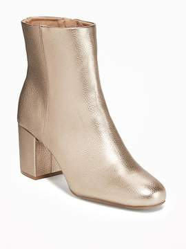 Old Navy Metallic Faux-Leather Block-Heel Boots for Women
