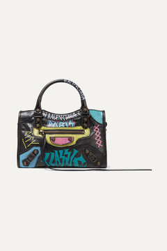 Balenciaga Classic City Mini Printed Textured-leather Tote - Black