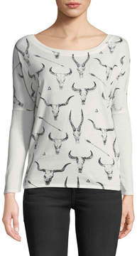 Chaser Long-Sleeve Cow-Skull Graphic Tee