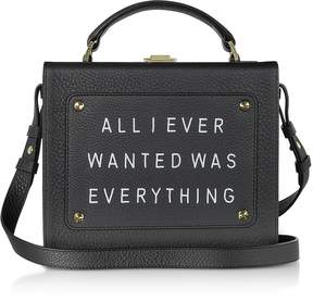 Meli-Melo Black Leather Art Bag w/Front Text Floater
