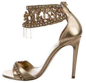 Rene Caovilla Embellished Ankle Cuff Sandals