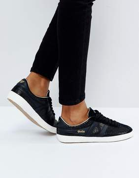 Gola Specialist Sneakers In Crackled Leather In Black