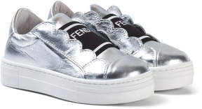 Fendi Silver Leather Branded Tongue Trainers