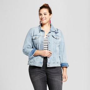 Ava & Viv Women's Plus Size Embroidered Denim Jacket Medium Wash