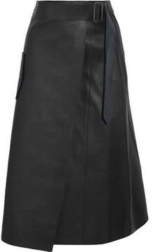 Dion Lee Wrap-Effect Leather Midi Skirt