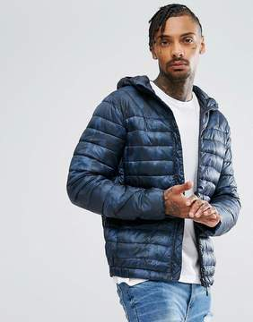 Pull&Bear Quilted Jacket With Hood In Blue Camo