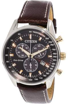 Citizen Men's AT2396-19X Silver Leather Japanese Chronograph Fashion Watch
