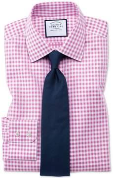 Charles Tyrwhitt Classic Fit Non-Iron Gingham Pink Cotton Dress Shirt Single Cuff Size 15.5/35
