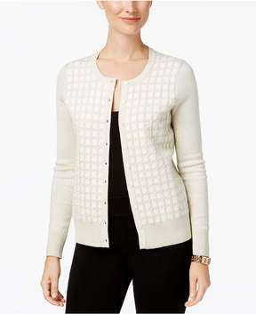 Charter Club Windowpane Plaid Metallic Button Cardigan, Created for Macy's