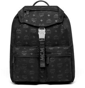 MCM Dieter Two Pocket Backpack In Monogrammed Nylon