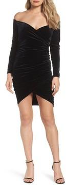 Bardot Women's Alex Off The Shoulder Velvet Body-Con Dress