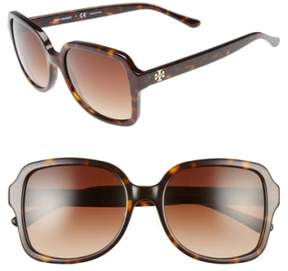 Tory Burch Women's 55Mm Square Sunglasses - Dark Tortoise