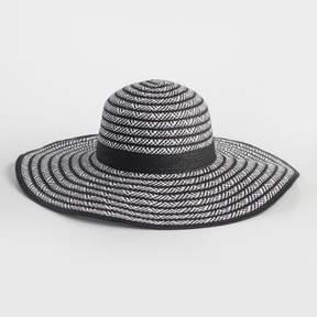 World Market Black and White Woven Sun Hat