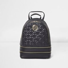 River Island Womens Black quilted backpack