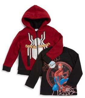 Nannette Little Boy's Two-Piece Spiderman Faux Fur-Trimmed Hoodie and Cotton Top Set