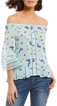 Democracy 3/4 Sleeve Butterfly Print Flounce Off-the-Shoulder Bell Sleeve Top