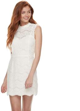 Love, Fire Love Fire Juniors' Mockneck Lace Midi Dress