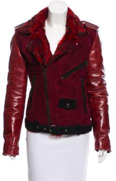 BLK DNM Shearling Trimmed Leather Jacket