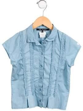 Lili Gaufrette Girls' Short Sleeve Button-Up Top