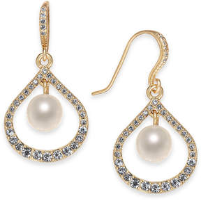 Charter Club Gold-Tone Pave & Imitation Pearl Drop Earrings, Created for Macy's