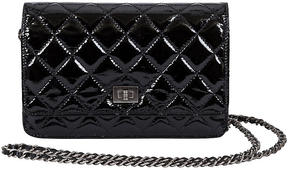One Kings Lane Vintage Chanel Black Patent Wallet on Chain