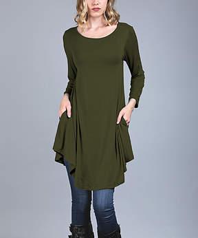 Azalea Green Side-Pocket Swing Tunic - Women & Plus