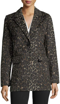 T Tahari Kendall Leopard-Print Single-Breasted Coat