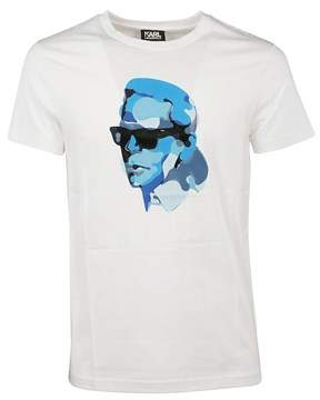 Karl Lagerfeld Men's 58224110blue White Cotton T-shirt.