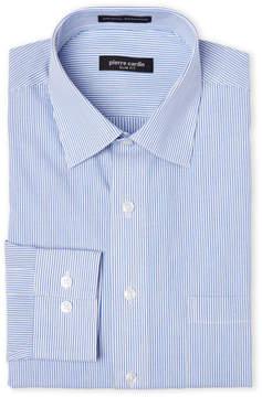 Pierre Cardin Blue & White Slim Fit Stripe Dress Shirt