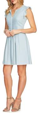 CeCe Pintuck Cotton Denim Fit and Flare Dress