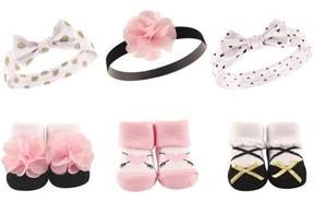 Hudson Baby Girl Headband and Socks Giftset, 6-Pack