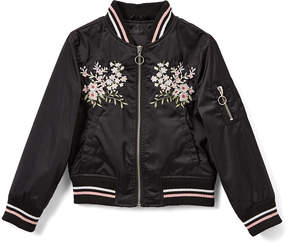 Urban Republic Black Floral-Embroidered Sateen Bomber Jacket - Toddler