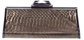 Kotur Metallic Embossed Leather Clutch