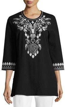 Joan Vass 3/4-Sleeve Cotton Interlock Embroidered Tunic, Black/White