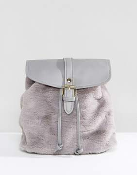 Glamorous Faux Fur Backpack in Gray