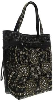 Roberto Cavalli Black/multicolor Studded Leather Tote Bag