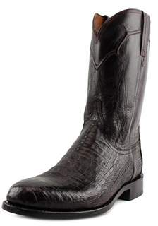 Lucchese Dustin Caiman Round Toe Leather Western Boot.